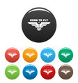 born to fly icons set color vector image vector image