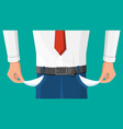 businessman show empty pocket vector image vector image