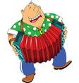 Cartoon accordion player vector image vector image