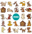 cartoon dogs and puppies characters large set vector image vector image