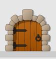 cartoon style wooden arc door vector image vector image