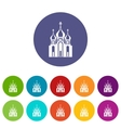 Church building set icons vector image vector image