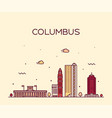 columbus skyline ohio usa linear style city vector image vector image