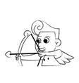 cupid with arch sketch vector image vector image