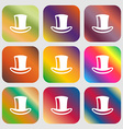 cylinder hat icon Nine buttons with bright vector image vector image