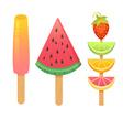 Delicious realistic ice-cream set vector image vector image