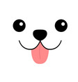 dog happy square face head icon pink tongue out vector image