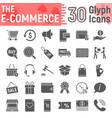 e commerce glyph icon set online store symbols vector image