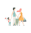 family travelling father mother and son going on vector image vector image