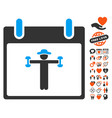 Fitness calendar day icon with valentine bonus vector image