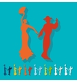 Flat design flamenco dancers vector image