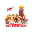 flat fire department background vector image vector image