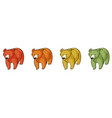 four bears on white background vector image vector image