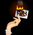 hand with a burning playing card vector image vector image