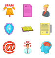 hard work icons set cartoon style vector image