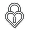 heart shaped lock line icon love and locker vector image vector image