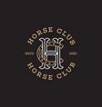 horse club monogram vector image vector image