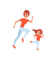 mother and her little daughter on morning jogging vector image vector image