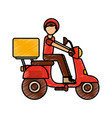 motorcycle delivery vehicle icon vector image vector image