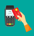 payment via cash register hand vector image vector image