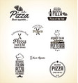 pizza label set vector image vector image