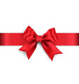 realistic red bow with red wide ribbon isolated on vector image