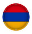 round metallic flag of armenia with screws vector image