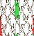 seamless pattern funny bunnies vector image vector image
