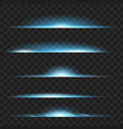 set of blue glowing light effect isolated on vector image vector image