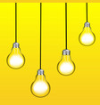 set of four glowing hanging light bulbs trendy vector image
