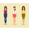 Set of girls in their everyday clothes vector image