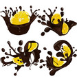 set of realistic chocolate splashes together lemon vector image