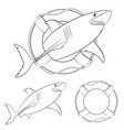 set of shark in the lifeline vector image vector image