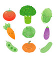set of vegetable cartoon icon vector image