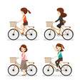 set of woman riding bicycle with different actions vector image vector image