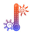 Sun snowflake and thermometer symbol vector image