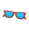 sunglasses with red plastic rimmed and blue lenses vector image