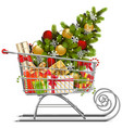 supermarket sleigh with christmas decorations vector image vector image