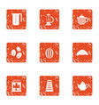 tea delight icons set grunge style vector image vector image