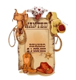 Wanted western vintage poster vector image