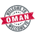 welcome to oman red round vintage stamp vector image vector image