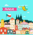 prague city flat design czech republic town vector image