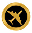 airplane button on white vector image vector image