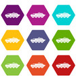 armored personnel carrier icon set color vector image vector image