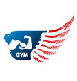 bodybuilder and wing symbol vector image vector image