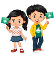 boy and girl holding flag of macau vector image vector image