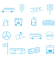 bus transport simple outline icons set eps10 vector image vector image
