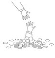 business hand helping businessman from coin heap vector image