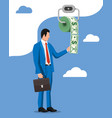 businessman and hank toilet paper dollar money vector image