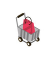 cart paper bag online shopping isometric icon vector image